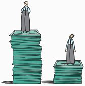 Two businessmen on uneven stacks of money